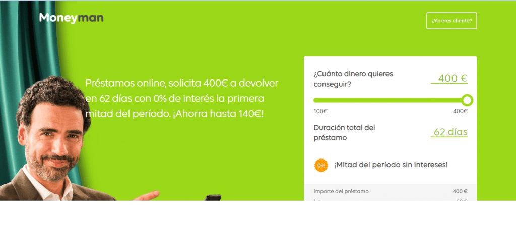 Con los microcréditos de Moneyman puedes onbtener hasta 400 euros.