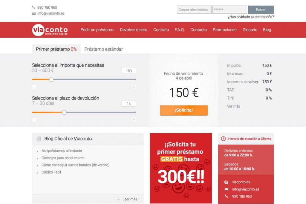 ViaConto ofrece microcréditos de hasta 600 euros.