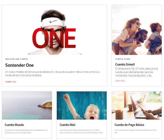 Catálogo de cuentas que ofrece el Santander