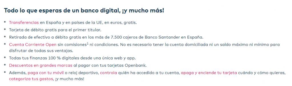 Características de la Cuenta sin nómina de Openbank