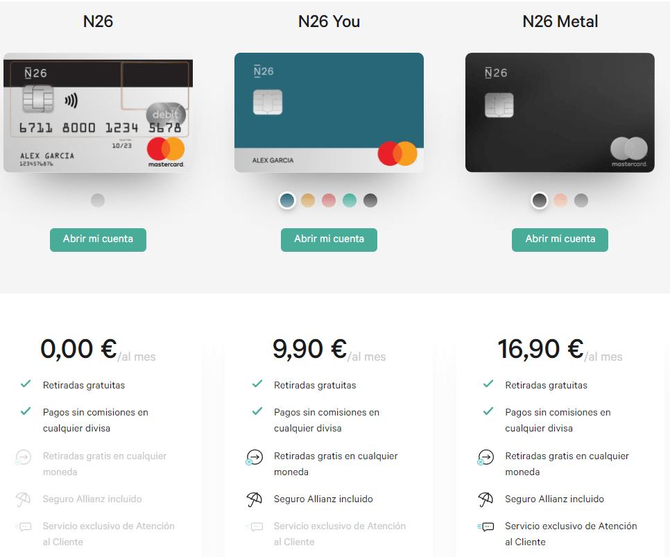 N26 ofrece diferentes tipos de planes.