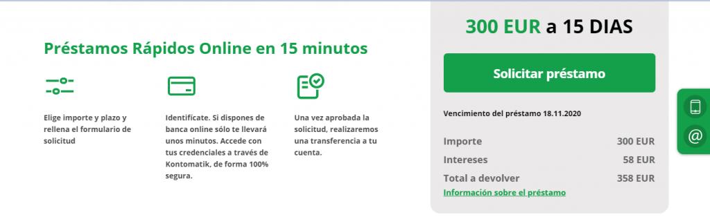 Microcréditos de hasta 1.000 euros en menos de 24 horas.