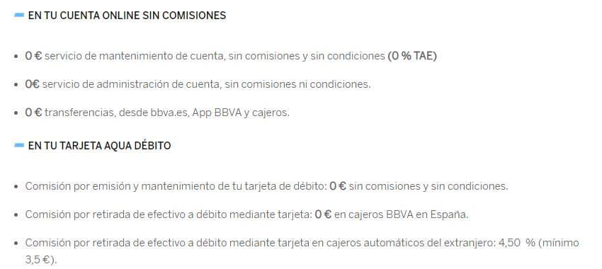 Comisiones de la cuenta online de BBVA