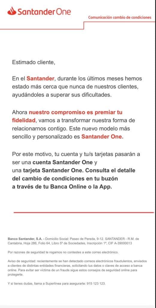 Comunicación Oficial del Banco Santander a todos sus clientes sobre sus nuevas condiciones y comisiones en 2021