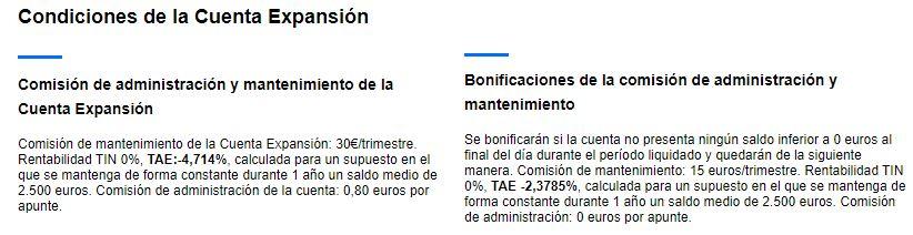 Condiciones de la cuenta Expansión de banco Sabadell