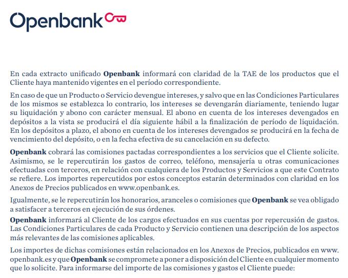 Condiciones de Openbank
