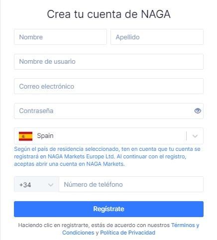 Crear cuenta Naga Trader