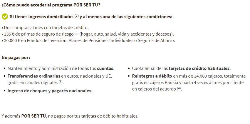 Requisitos del programa sin comisiones de Bankia ''Por ser Tú''
