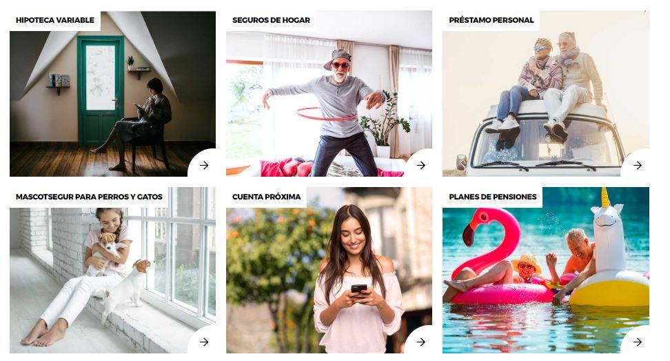 Algunos de los productos que encontramos disponibles en el catálogo de TargoBank