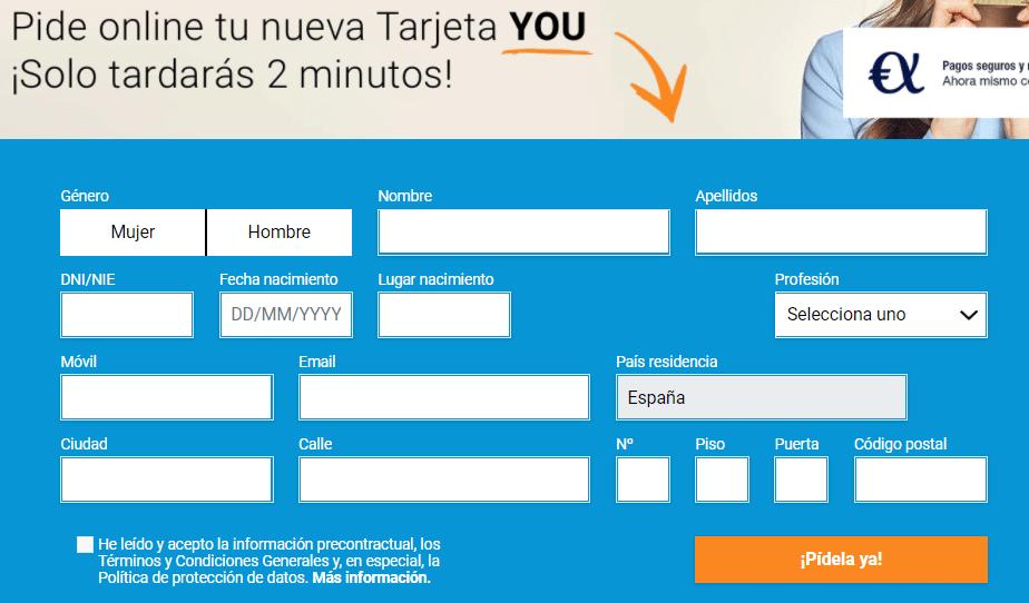 Formulario de solicitud de la tarjeta You de Advanzia