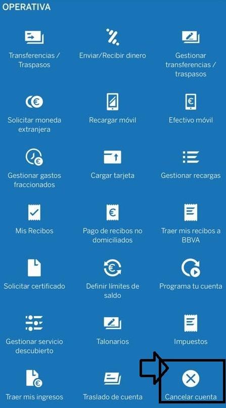 Cerrar cuenta BBVA app