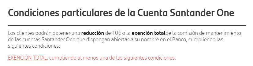Condiciones para la exención de comisiones de Santander One