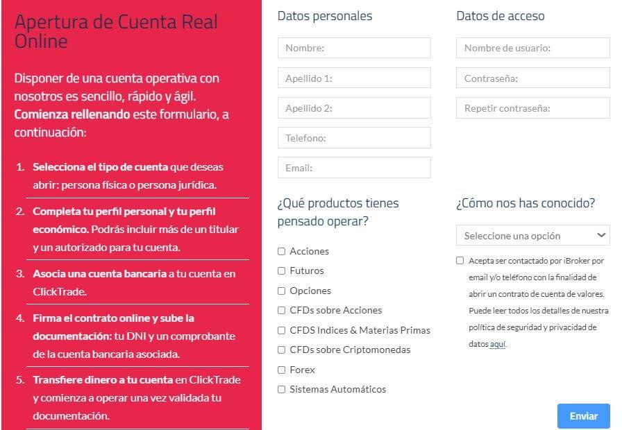 Formulario de registro de ClickTrade