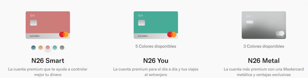 N26 ofrece N26 Smart, N26 You y N26 Metal