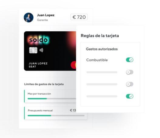Con Soldo puedes personalizar el uso de las tarjetas prepago de tus empleados