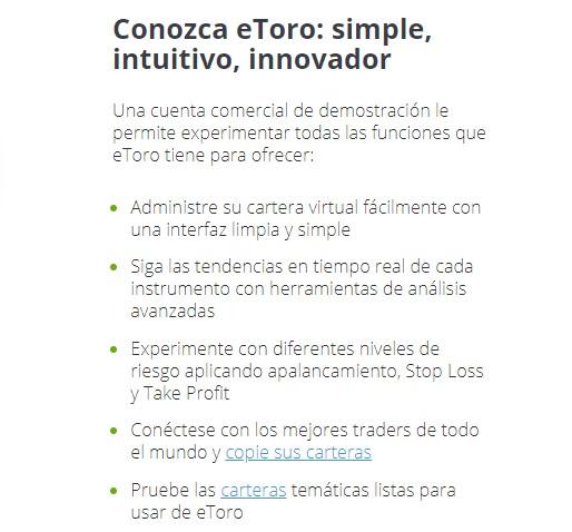 Ventajas de la Cuenta Demo de eToro