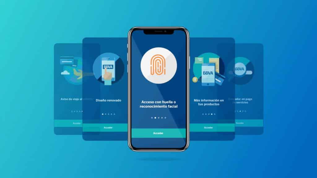Algunas funcionalidades de la app banca digital de BBVA