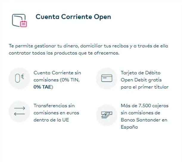 Beneficios de la cuenta Open de Openbank