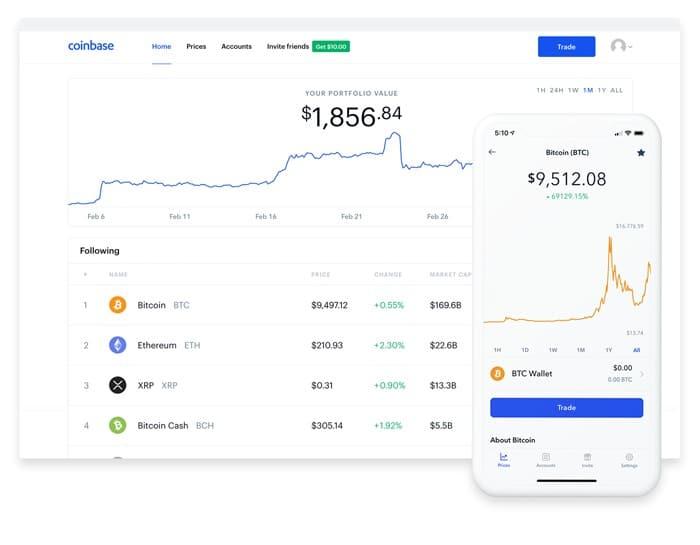 Coinbase está disponible para escritorio y para smartphone
