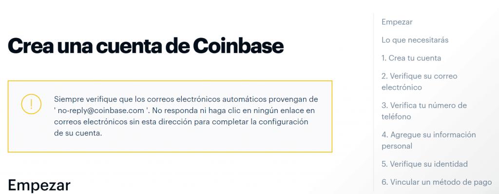 Crear una cuenta en Coinbase paso a paso