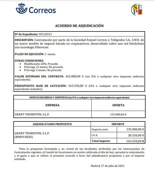 Contrato de adjudicación de NFT de Correos a Grant Thornton