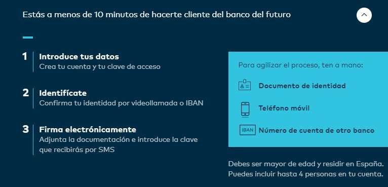 Pasos para abrir una cuenta Openbank