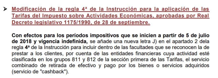 Fiscalidad del Cashback, LEY 6/2018, DE 3 DE JULIO, DE PRESUPUESTOS GENERALES DEL ESTADO