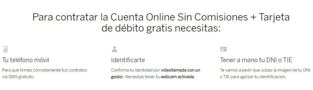 Pasos para contratar la Cuenta Online del BBVA.