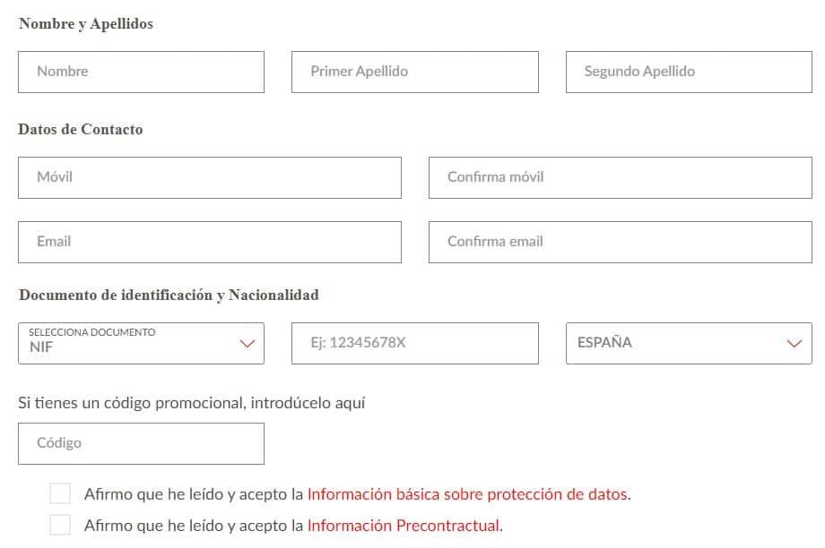 Formulario de registro para apertura de cuenta One Santander.