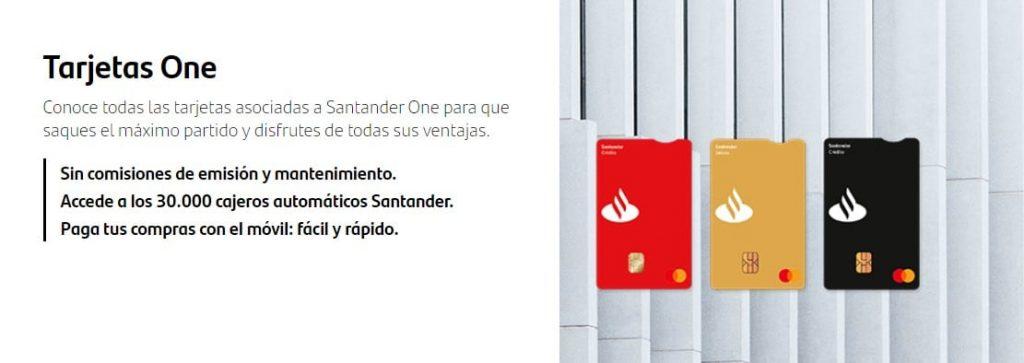 Tarjetas Santander One y sus beneficios